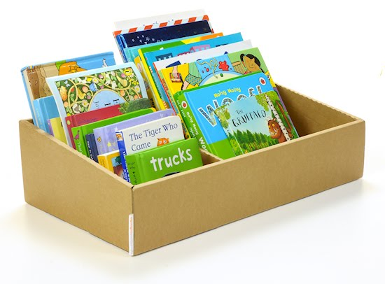 Big Book little Book Cardboard Box bookshelf
