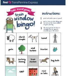 A flavour of Train Window Bingo go to http://www.tpexpress.co.uk/kids-travel-games/ to print out your own copy!